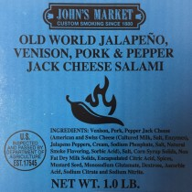 Old World Jalapeno, Venison, Pork & Pepper Jack Cheese Salami